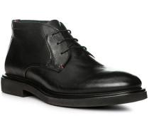 Schuhe Schnürstiefeletten Leder schwarz