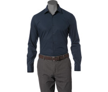 Hemd Slim Fit Stretch-Popeline marineblau