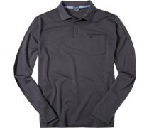 Herren Polo-Shirt Polo Baumwoll-Piqué blau meliert