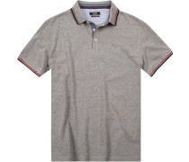 Polo-Shirt Polo Baumwoll-Piqué hellgrau meliert
