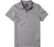 Polo-Shirt Polo Baumwoll-Jersey hellgrau gestreift