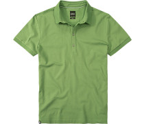 Polo-Shirt Slim Fit Baumwoll-Piqué hellgrün