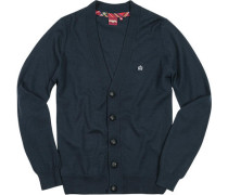 Herren V-Cardigan Wolle navy blau