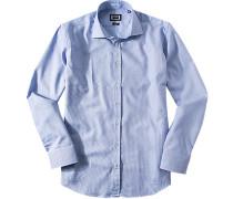Hemd Modern Fit SBaumwolle azurblau-weiß gemustert