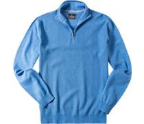 Herren Pullover Troyer Baumwolle hellblau
