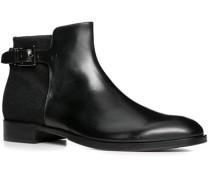 Herren Schuhe Stiefeletten Kalbleder-Wolle-Mix schwarz schwarz,schwarz