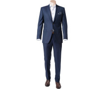 Herren Anzug Shape Fit Schurwolle Super130 REDA dunkelblau-schwarz meliert