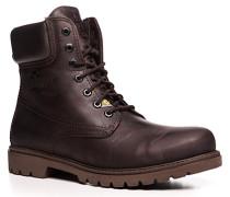 Herren Schuhe Schnürstiefeletten Leder warm gefüttert dunkelbraun braun,weiß