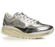 Herren Schuhe Sneaker Leder silber grau,weiß