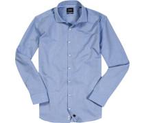 Hemd, Slim Fit, Struktur, capriblau gemustert