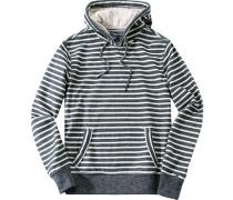 Pullover Kapuzenpulli Baumwolle navy-off white gestreift