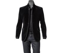 Herren Samt-Sakko Baumwolle schwarz