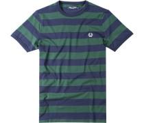 Herren T-Shirt Baumwolle marine-dunkelgrün gestreift blau,grün