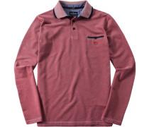 Herren Polo-Shirt Polo Baumwoll-Piqué rot meliert