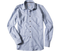 Hemd Modern Fit Twill hellblau meliert
