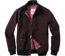 Herren Jacke Blouson Regular Fit Woll-Mix mit Stretch brombeere rot,rot