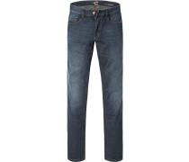 Herren Jeans-Hose Modern Fit Baumwoll-Stretch dunkelblau