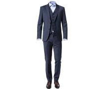 Herren Anzug mit Weste Slim Fit Woll-Stretch dunkelblau meliert