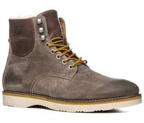 Schuhe Schnürstiefeletten Leder warm gefüttert graubraun