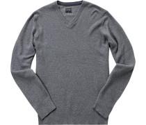 Herren Pullover Baumwoll-Woll-Mix grau meliert