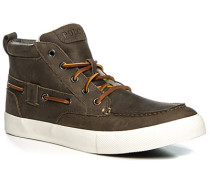 Schuhe Schnürstiefeletten Leder warm gefüttert dunkelbraun