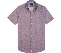 Hemd Modern Fit Popeline bordeaux-weiß gemustert