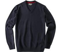 Herren Pullover Kaschmir-Woll-Mix dunkelblau
