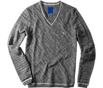 Herren Pullover Woll-Mix grau-braun meliert
