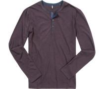 T-Shirt Longsleeve Shaped Fit Baumwolle bordeaux-dunkelblau gestreift