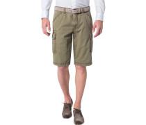 Herren Hose Bermuda Modern Fit Baumwoll-Stretch khaki grün