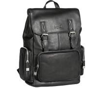 Herren Tasche  Rucksack Leder schwarz