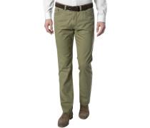 Herren Blue-Jeans Regular Fit Baumwoll-Stretch olivgrün