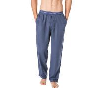 Schlafanzug Pyjamahose, Flanell, rauchblau