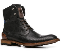 Herren Schuhe Stiefeletten Kalbleder schwarz gemustert schwarz,schwarz
