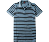 Polo-Shirt Polo Baumwoll-Piqué eisblau gestreift