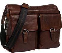 Herren Tasche  Messenger Bag Leder rotbraun