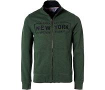 Sweatjacke, Vintage Fit, Baumwolle, smaragdgrün meliert