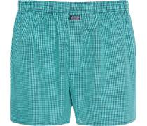 Unterwäsche Boxer-Shorts Baumwolle hellgrün-nachtblau kariert
