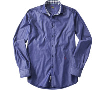Hemd, Chambray, königsblau meliert