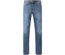 Herren Jeans Regular Cut Baumwoll-Stretch jeansblau