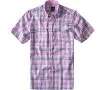 Herren Hemd Regular Fit Baumwolle rosa-weiß-blau kariert