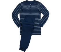 Schlafanzug Pyjama, Baumwolle, tintenblau-ecru gestreift