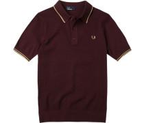 Herren Polo-Hemd Baumwoll-Strick bordeaux rot