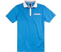 Polo-Shirt Polo Modern Fit Baumwoll-Jersey doppelt mercerisiert capriblau