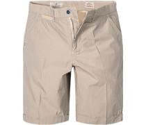 Hose Shorts Regular Fit Baumwolle grau- gestreift