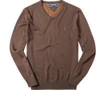 Pullover Baumwolle-Seide haselnussbraun meliert