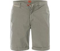 Hose Shorts Regular Fit Baumwolle khaki gestreift