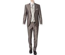 Herren Anzug Slim Line Woll-Mix taupe Plastron, Einstecktuch optional erhältlich braun