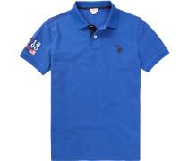 Polo-Shirt Polo Baumwolle-Piqué azurblau