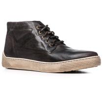 Herren Schuhe Sneaker Glattleder dunkelbraun braun,weiß